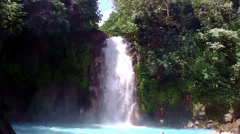 Rio Celeste - A waterfall in Costa Rica Stock Footage