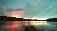 Sunset over a lake in Michigan time-lapse Stock Footage