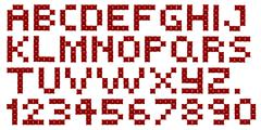 Cross stitch alphabet and numbers Stock Illustration