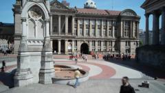 BIRMINGHAM, ENGLAND - MAY 2014: Time lapse panorama of   Chamberlain Square Stock Footage