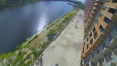 Jump lakeside Karasun Stock Footage