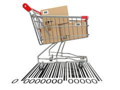 Ostoskärryä ostojen viivakoodi. Piirros