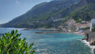 Stock Video Footage of Soft Focus View on the Amalfi Harbour and Coast Italy Background - 25FPS PAL