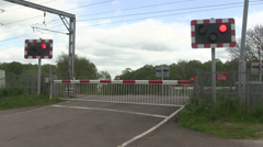 Red flashing lights at a level crossing. Stock Footage