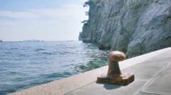 Rusty Mooring Pole Bitt Positano Amalfi Coast Italy - 25FPS PAL Stock Footage