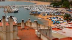Port and Beach - Tilt Shift (miniature effect) Stock Footage
