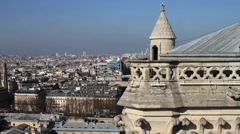 1532 On Top of Notre Dame Paris France  - stock footage