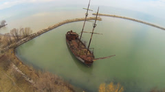 Aerial view of an old ship Stock Footage