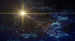 Bethlehem star cross yellow planet flare at night Stock Footage