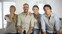Cheerful business team standing in office Stock Footage