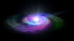 Space blue galaxy render Stock Footage