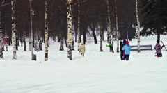 Group of kids with ski in winter park - stock footage
