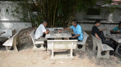 Asian men playing chess in a park Stock Footage