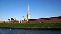 Petropavlovskaya fortress in St. Petersburg Stock Footage