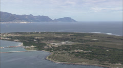 Revolving aerial view of Robben Island Stock Footage