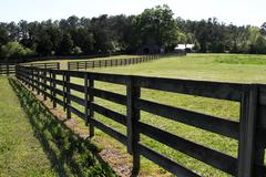 Horse Ranch Fence Long Stock Photos