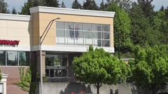 Pan of Wallgreens Building Facade 1 Stock Footage