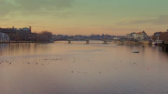 Coimbra Sunset by the River Stock Footage