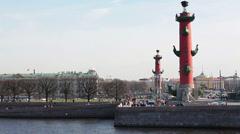 Vasilievsky Island from the Exchange Bridge, St. Petersburg, Russia Stock Footage