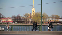 View from Birzhevoy (Exchange) Bridge on Peter and Paul Fortress Stock Footage
