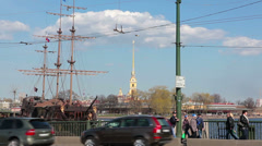 Saint-Petersburg cityscape with small bridge, sail ship and Fortress - stock footage