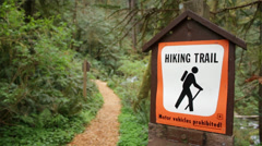 Hiking Trail Sign Stock Footage