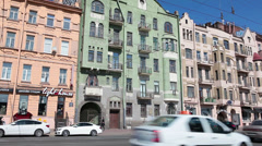 Dobrolyubov avenue with ancient historical building facades, Saint-Petersburg Stock Footage