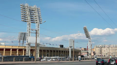 Petrovsky Stadium view, sports arena in Saint-Petersburg, Russia Stock Footage