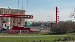 Lukoil brand gas station in Saint-Petersburg, Russia Stock Footage