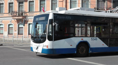 Trolleybus standing on road crossing on the streets of Saint-Petersburg, Russia Stock Footage
