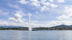 4k Timelapse of Geneva water fountain (Jet d'eau) in Geneva, Switzerland. - stock footage