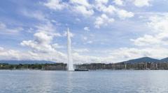Timelapse of Geneva water fountain (Jet d'eau) in Geneva, Switzerland. - stock footage
