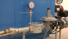 Biogas production plant - zoom out from a pressure indicator. Stock Footage