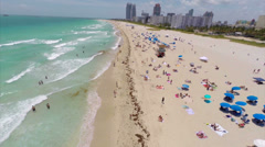 Aerial low flyover of Miami Beach Stock Footage
