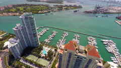 Aerial Yacht Club and Port of Miami 2 - stock footage