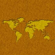Illustration old wood panels world map cut out use for background Stock Illustration