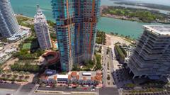 Aerial Portofino Miami Beach condo Stock Footage