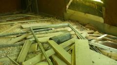 Interior damaged house 1 flood damage abandoned Stock Footage