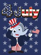 Elephant head man cartoon cheerful in 4 july independent day Stock Illustration