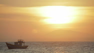 Sea sunset with boat and mountain Stock Footage