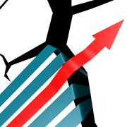 Success arrow over the cliff Stock Illustration