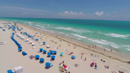 Stock Video Footage of Aerial video of Miami Beach with turn at the end