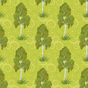 Seamless, birch trees and floral pattern - stock illustration