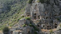 The rock-cut tombs in Myra, Antalya, Turkey Stock Footage
