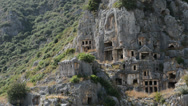 Stock Video Footage of The rock-cut tombs in Myra, Antalya, Turkey