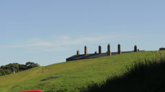 Detail of roof with chimneys in the hill Stock Footage