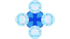 Azure kaleidoscope on white background, loop HD Stock Footage