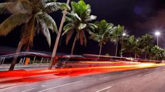 Avenida Atlantica at night time lapse Rio de Janeiro Brazil Stock Footage