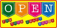 craft shop open sign - stock illustration