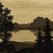 Landscape, trees and river silhouette - stock illustration